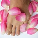 Füße mit Rosenblättern